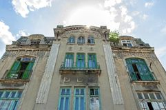 Old building facade in historically city Tomis. Royalty Free Stock Photo