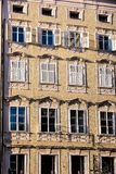 Old building, facade with lattice windows Royalty Free Stock Photography