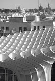 Old building facade and sunshade building in Seville. Spain Royalty Free Stock Image