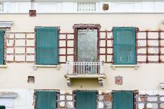 Old building facade under renovation. restoration work. Royalty Free Stock Images