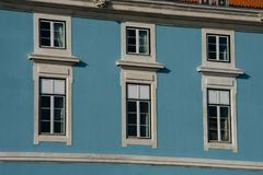 Old building facade windows. Lisbon, Portugal Royalty Free Stock Image