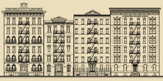 Old building and facades of new york. Totally fictitious vector illustration