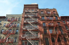 Old building with fire escape, NYC. Old building with fire escape, Manhattan, New York City, USA Royalty Free Stock Photos
