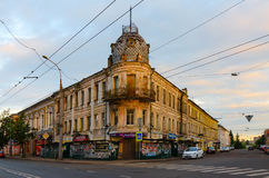 Old building (house of Sedov) in sunset light, Rybinsk, Russia Stock Photos