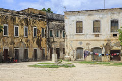 Old building - Island of Mozambique. The Island of Mozambique (Portuguese: Ilha de Moçambique) lies off northern Mozambique, between the Mozambique Channel and Royalty Free Stock Images