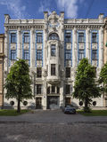 Old building in jugendstyle (Art Nouveau) in Riga, Latvia. Stock Photo
