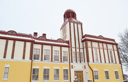 Old building in Kotka at winter. Royalty Free Stock Photography
