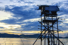 Old building for life net at dawn at Songkhla lake, Koh Yor, Songkhla province, Thailand Stock Photography