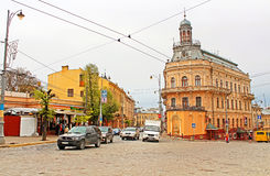 Old building like a ship. Architecture in the old town Chernivtsi Stock Photos