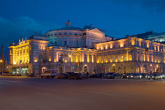 The old building of the Mariinsky theatre, night in april. Saint Petersburg Royalty Free Stock Photos