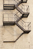 Old building metal emergency exit stairs down Royalty Free Stock Images