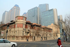 Old building in modern city. Tianjin has many old  western style buildings photoed at Hebei road Tianjin China Royalty Free Stock Image