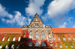 Old building of National Museum with autumn ivy in Wroclaw, Poland Royalty Free Stock Photo