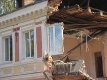 Old building & new window. House collapsing with windows still in place Stock Images