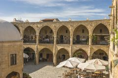 Old building in Nicosia city. Interior , Historic building with  bazaar on the  street , Turkish part Nikosia city  Lefkosia . Cyprus . Capital city of Cyprus Royalty Free Stock Photos