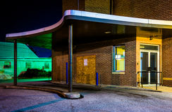 Old building at night in Hanover, Pennsylvania. royalty free stock photography