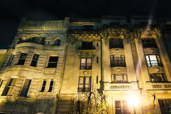 Old building at night in Mount Vernon, Baltimore, Maryland. Stock Photos