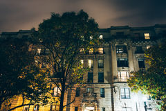 Old building at night in Mount Vernon, Baltimore, Maryland. royalty free stock photos