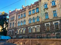 Old building and old car. In the historic center of city Royalty Free Stock Photos