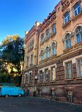 Old building and old car. In the historic center of city Royalty Free Stock Image