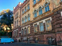 Old building and old car. In the historic center of city Stock Photo