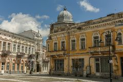 Old building in the old center of the city Botosani. Romania stock image