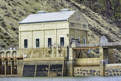 Old building that is part of a diversion dam near Boise. Idaho diversion dam building and water stock images