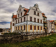 Old building in Pisz, Poland. Pisz (Johannisburg, Jansbork) is town in Warmian-Masurian Voivodeship in Poland, with population of 19,328 in 2004. It is seat of Stock Photos