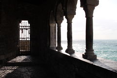 Old building in Porto Venere. With column near sea royalty free stock photos