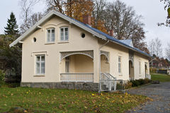 Old building on the Red Mansion. Red Mansion in Halden is one of the best preserved manor houses facilities in Norway. The building complex has its oldest roots Royalty Free Stock Photo