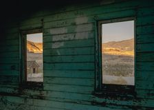 Old building in Rhyolite, Death Valley, California, USA stock photos