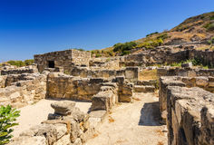 Old building ruins in Kamiros. Beautiful summer landscape of Rhodes island stock photos