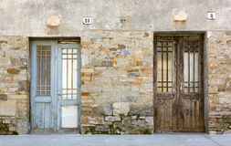 Old Building`s Facade with Two Doors Stock Image