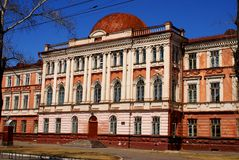 Old building of school. Russia. Siberia. Old building of school in Russia. One of old schools of city. To it about hundred years Royalty Free Stock Images
