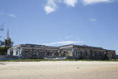 Old building on the shore of Island of Mozambique. The Island of Mozambique (Portuguese: Ilha de Moçambique) lies off northern Mozambique, between the Royalty Free Stock Photo