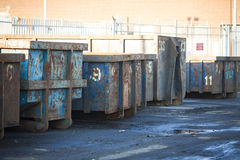Old White Rusty Garbage Dumpster Isolated Stock Photo
