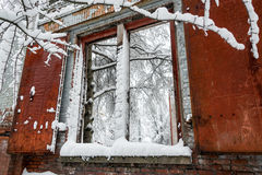 Old Building and Snow Stock Photo