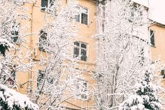 Old building in snow winter day Stock Photos