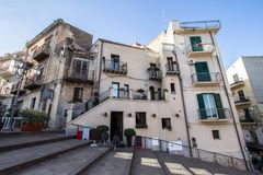 Old building on the stairs. In Lascari, Sicily island, Italy stock photography
