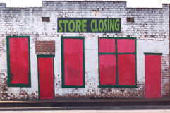 Old Building With Store Closing Sign Stock Photos