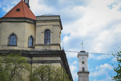 The old building and the Town Hall in Lviv. Ukraine royalty free stock photos