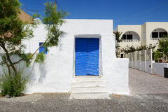 The old building in traditional Greek style Royalty Free Stock Photo