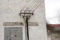 The old building of transformer points. stock photography