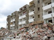Old building under construction in the city. Demolished, damage, architecture, destroyed, industrial, town, ruin, demolition, destruction, empty, house, broken stock photography