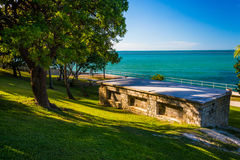 Old building and view of the Gulf of Mexico in Marathon, Florida Royalty Free Stock Images