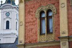 Old Building Window and the tower of the Saint George`s Cathedral royalty free stock image