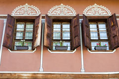 Old building with wooden windows in Plovdiv Stock Photography