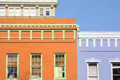 Old Buildings. With vivid paint Stock Images