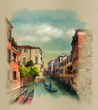 Old buildings along the canals, Gondolier in Venice,Italy. Watercolor sketch, illustration. Stock Photos