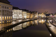 Old buildings along Korenlei and the River Leie in Ghent Stock Photography
